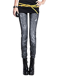 Women Print Denim Legging,Polyester Spandex Core Spun Yarn