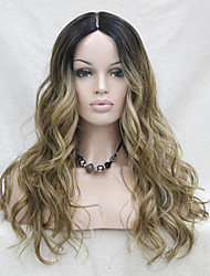 cheap -High Quality Heat Resistant Natural Hairline Synthetic Omber Black Root / Light Golden Brown Mix Gloden Blonde  Wavy Small Lace Long Wig