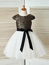 Vestido de menina de flor de joelho com uma linha de joias - Manga de lã de lã com mangas curtas com gola de joia com fita por thstylee