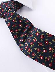 baratos -azul marinho floral de algodão gravatas finas