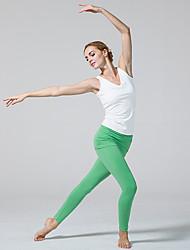 abordables -Pantalones de yoga Medias/Mallas Largas Transpirable Cintura Media Eslático Ropa deportiva Blanco Verde Negro MujerYoga Pilates Ejercicio