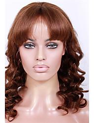Недорогие -Натуральные волосы Бесклеевая кружевная лента Лента спереди Парик Бразильские волосы Волнистый Парик Прямая челка 130% 150% Плотность волос 20-24 дюймовый / Природные волосы / 100% ручная работа