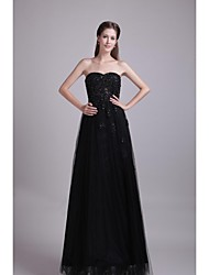 cheap -A-Line Sweetheart Floor Length Lace Tulle Formal Evening Dress with Beading Appliques by LAN TING Express