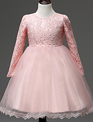 Ball Gown Knee Length Flower Girl Dress - Organza Long Sleeves Jewel Neck by YDN