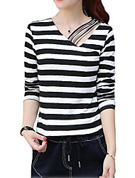 Women's Casual/Daily Simple Fall / Winter T-shirtSolid / Striped V Neck Long Sleeve White / Black / Yellow Cotton Thin