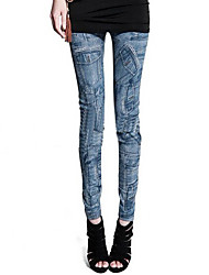 cheap -Women Print Denim Legging,Polyester Spandex Core Spun Yarn