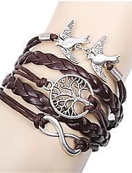 Women's Multilayer Alloy Love Birds Tree and Infinity Handmade Leather Bracelet