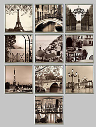 cheap -Framed Canvas Framed Set Architecture Wall Art, PVC Material With Frame Home Decoration Frame Art Living Room Office