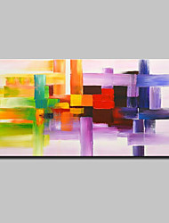 Large Size Hand-Painted Modern Abstract Chromatic Stripe Oil Paintings On Canvas With Stretched Frame Ready To Hang
