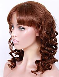 Недорогие -Натуральные волосы Бесклеевая кружевная лента Лента спереди Парик Бразильские волосы Волнистый Парик Прямая челка 130% 150% Плотность волос 14-18 дюймовый / Природные волосы / 100% ручная работа