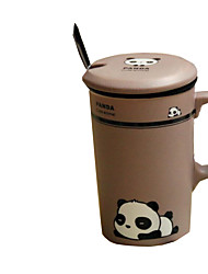 1PC Novelty Gift Cover Band Ceramic Cup Animal Cup Cartoon Panda Cup(Pattern is  Random)