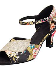 Sequined Flower Women's Ballroom Dance Shoes Satin / Paillette Latin / Salsa Sandals Heel Professional Customizable