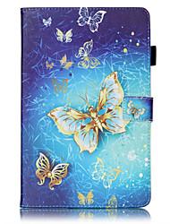 Недорогие -Кейс для Назначение SSamsung Galaxy / Вкладка S2 8.0 / Вкладка S2 9.7 Tab 4 7.0 / Tab E 9.6 / Tab E 8.0 Кошелек / Бумажник для карт / со стендом Чехол Бабочка Твердый Кожа PU