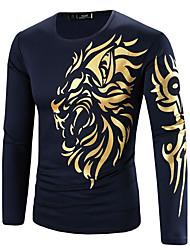 preiswerte -Herren Druck Boho Alltag Normal Sport T-shirt,Rundhalsausschnitt Winter Herbst Langärmelige Baumwolle