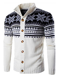 Men's Casual/Daily Simple Regular Cardigan,Striped Print Long Sleeves Cotton Fall Winter Medium Stretchy