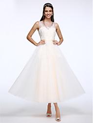Linha A Até o Tornozelo Tule Vestido de casamento com Apliques Botão de LAN TING BRIDE®