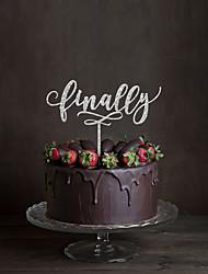 Decorazioni torte Non personalizzate Monogramma Acrilico Matrimonio Fiori Nero Classico 1 Confezione regalo