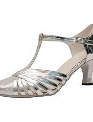 Damer Latin Moderne Paillette Kunstlæder Sandaler Hæle Professionel Indendørs Pailletter Spænde Personligt tilpassede hæle Sølv