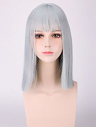 New Color Dull Blue Heat Resistant Short Straight with Full Bang Harajuku Style Lolita Qute Yurisa Same Hair Light Green Color Synthetic Cosplay Wigs