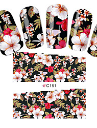 cheap -Fashion Flowers Nail Stickers Nail Art Tips Full Cover Wraps Water Transfer Nail Decals Decoration Tools