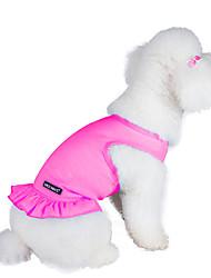 abordables -Chat Chien Robe Vêtements pour Chien Couleur Pleine Orange Violet Rose Bleu clair Coton Costume Pour les animaux domestiques Femme Mode