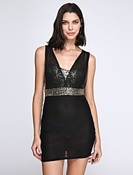 Women's Sequin Sexy Deep-v Sequined Bodycon Mini Dress