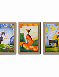 cheap -Hand-Painted Abstract People Abstract Portrait Fantasy Vertical, Modern Canvas Oil Painting Home Decoration Three Panels