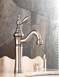 americano centerset singola standard maniglia un foro in nichel spazzolato rubinetto lavabo bagno