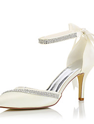 cheap -Women's Shoes Silk Spring Summer Heels Stiletto Heel Rhinestone for Wedding Dress Party & Evening Beige