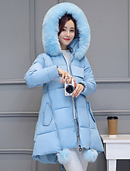 Women's Solid Blue / Pink / Red / Black Padded CoatSimple Hooded Long Sleeve