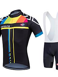 abordables -Fastcute Homme Femme Manches Courtes Maillot et Cuissard à Bretelles de Cyclisme Vélo Cuissard à bretelles Collant à Bretelles/Corsaire