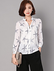 Women's Casual/Daily Street chic All Seasons ShirtPrint Stand Long Sleeve Blue / White / Black Rayon / Polyester Thin