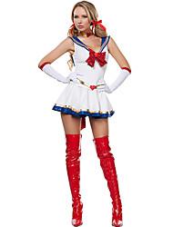 Cosplay Cosplay Kostumer Festkostume Dame Halloween Oktoberfest Festival / Højtider Halloween Kostumer Hvid Ensfarvet