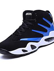 Masculino-Tênis-Conforto-Rasteiro-Azul Preto e Vermelho Preto e Branco-Tecido-Casual