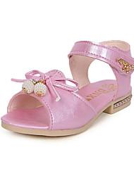 Para Meninas Sandálias Conforto Couro Ecológico Verão Social Conforto Laço Rasteiro Branco Azul Rosa claro Rasteiro
