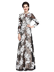 cheap -Sheath / Column Jewel Neck Floor Length Lace Mother of the Bride Dress with Appliques Lace by LAN TING BRIDE®