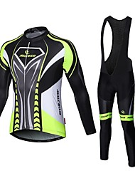 cheap -Malciklo Cycling Jersey with Bib Tights Men's Long Sleeves Bike Compression Clothing Tights Clothing Suits Quick Dry Front Zipper