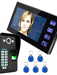 cheap -Ennio Touch Key 7 Lcd Fingerprint Recognition Video Door Phone Intercom System IR Camera HD 1000 TVline