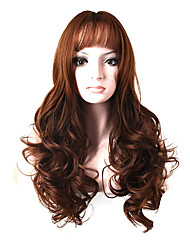cheap -Fashion Long Curly Wig Brown Color Synthetic African American Women Wig
