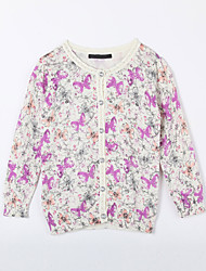 cheap -Daily Floral Sweater & Cardigan,Cotton Fall White