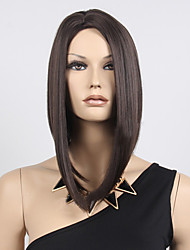 Women Short Bobo Wig Straight Black Synthetic Hair Wig Highlighted Heat Resistant Natural Middle Part Wig