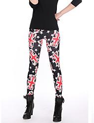 Недорогие -женская новая мода черный нижний бежевый печати гетры, полиэстер