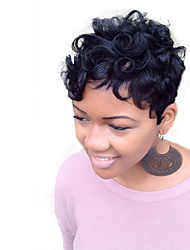 cheap -Women's Human Hair Capless Wigs kinky straight Straight African American Wig Layered Haircut Pixie Cut Short Natural Black