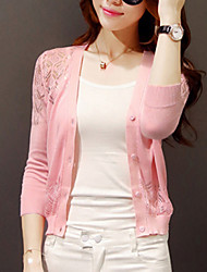 cheap -Women's Cut Out Solid V Neck Cardigan, Long Sleeves Fall Wool