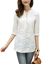 cheap -Women's Going out Street chic Cotton Blouse - Jacquard V Neck