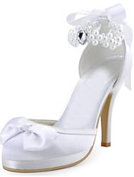 Da donna-Tacchi-Matrimonio Formale Serata e festa-Plateau-A stiletto Plateau-Raso elasticizzato-Rosso Avorio Bianco