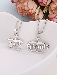 cheap -2 Pcs/Set Europe Fashion Pendant Necklaces Best Friends Necklace Silver Plated Link Chain Jewelry Gifts For Friends