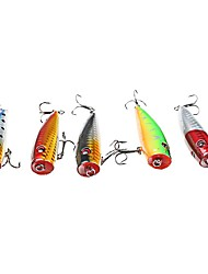 cheap -5 pcs Hard Bait Fishing Lures Popper Minnow Plastic Carbon Steel Sea Fishing Bait Casting Freshwater Fishing Other General Fishing Lure