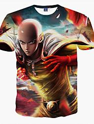 preiswerte -Herren T-shirt-Druck Freizeit / Formal / Sport Polyester Kurz-Rot