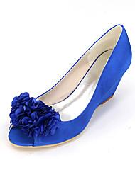 baratos -Mulheres Sapatos Cetim Primavera / Verão Plataforma Básica Sapatos De Casamento Nulo Salto Plataforma Peep Toe Nulo Apliques Azul /
